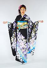 1437 黒系 白染め分け青ぼかし花柄 tt-b桂由美 サムネイル