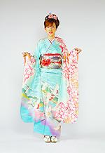 328 青系 淡いブルー昇り鶴、桜柄 サムネイル